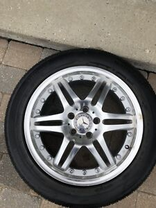 Mercedes alloy rims with tire