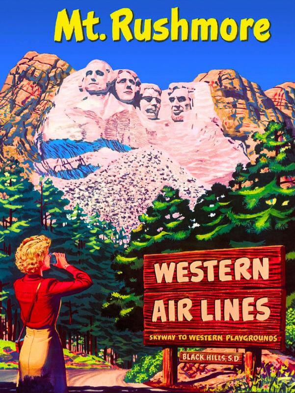 Mount Rushmore Airplane South Dakota United States Travel Advertisement Poster