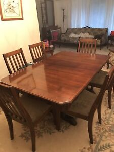 Antique Solid Walnut Expanding Dining Room Table