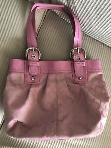 Coach Signature Logo Buckle Tote Handbag Purse