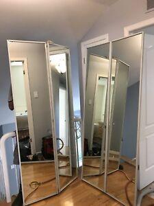 2 Portes miroirs garde-robe