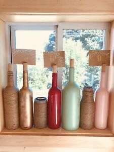 (18) WINE BOTTLES - VASES/CARD HOLDERS