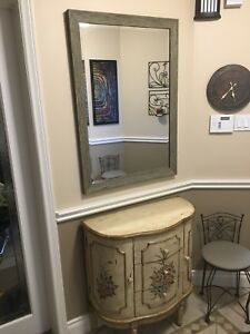 Console Table, Mirror, and small chairs