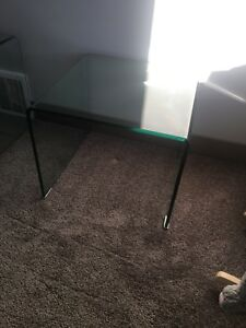 Waterfall glass coffee table and end table