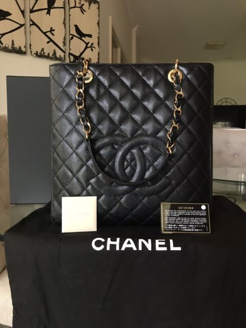 292bc60bffa0 *AUTHENTIC* CHANEL Petite Shopping Tote XL in Black Caviar bag ...