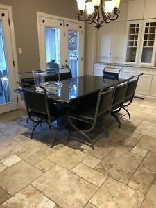 Black Granite Kitchen Table with 8 Leather Chairs