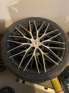 "2 perfect condition 19"" rims and tires and 2 cracked rims"