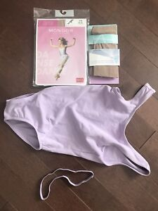 Mondor dance bodysuit and Mondor and Ivivva tan tights