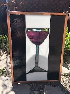 Wine glass stained glass hanging window art