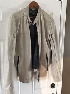 Leather Jacket Vintage Style off White size 42-44 Mens