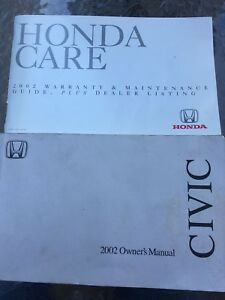 HONDA CIVIC 2002 OWNER'S MANUAL