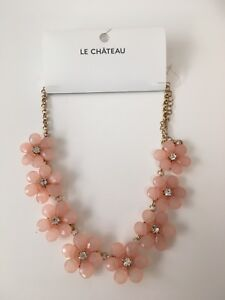 LE CHATEAU PINK FLORAL NECKLACE - NWT