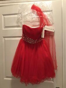 Red Strapless Short Prom Dress
