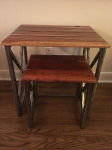 Nested wood and metal side table