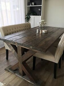 Rustic Trestle X Kitchen Table
