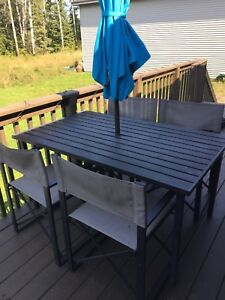 Patio table and chairs w/ umbrella stand - umbrella not included