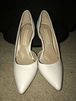 White Leather look point toe heels