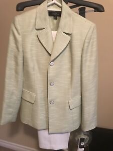 Kasper White and Green Pant Suit