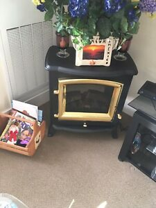 Black and bronze electric fireplace