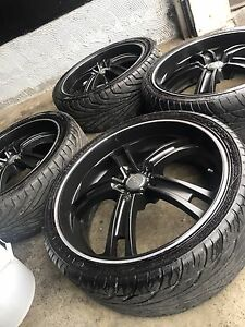"^** BEAUTIFUL BLACK 20"" OZ RACING RIMS WITH TIRES"
