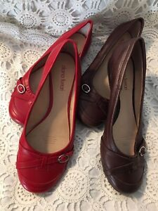 Diana Ferrari -SIZE 9-NEW -FLAT SHOES-2PAIR-BROWN AND RED . Green Point Gosford Area Preview