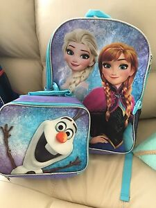New frozen Elsa, Anna and Olaf backpack and lunch bag!