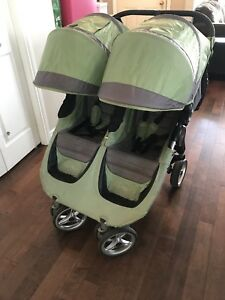 City mini double stroller, belly bar, and trays