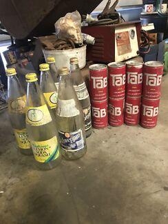 Old Schweppes soft drink bottles & TAB cans