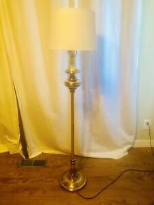 Vintage Brass Floor Lamp with White Drum Lampshade
