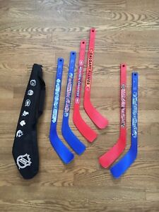 6 mini batons sticks de hockey avec sac, NHL