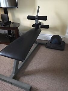 Eight position abdominal bench with 10lb ball