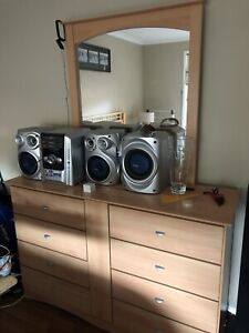 Chest of drawers with mirror and matching bedside tables x 2