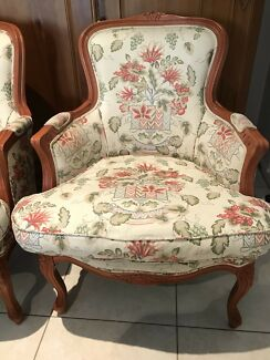 Pair Louis bergere arm chairs