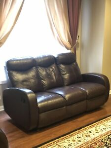 Repriced to sell - All Leather (3 piece) Reclining Sofa Set
