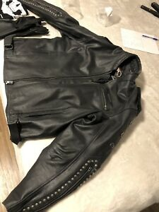 Bikers leather lined jacket gloves mask 100 firm