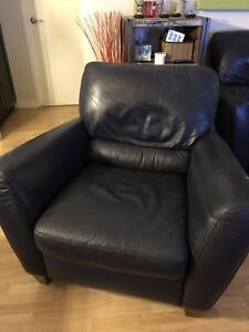 Natuzzi Leather Chair In Gorgeous Blue Colour