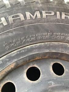 Winter tires on steel rims 205/65/R15