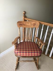 Bass river solid wood rocking chair with cushion for sale