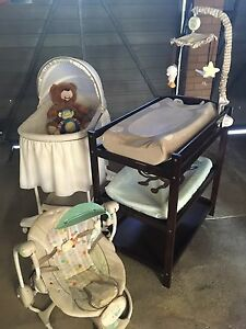 Bassinet, change table, cot mobile musical, baby swing and baby gate Ferny Hills Brisbane North West Preview