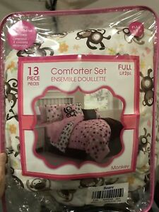 Ensemble douillette lit 2 places singe Full comforter set monkey