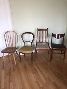 Vintage Antique Teak Chairs - Assorted Dining Side Chairs