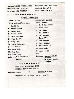 Crystal Palace v Queens Park Rangers QPR Reserves Programme 18.11.1978