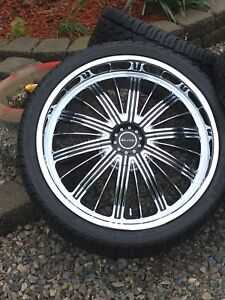 "22"" ELITE RADES RIM & TIRE PACKAGE WITH FALKEN RUBBER"