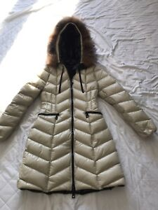 Brand New Moncler White Down Parka with Fox Trim size 1