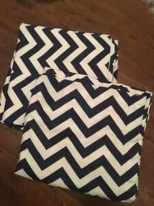 2 lined curtain panels. Navy and white chevron print.