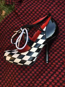 Shoes size 6 high heels; Black & white; Red Queen; Harley-Quinn