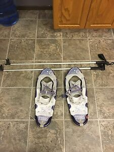 Woman's / kids snow shoes and poles for sale