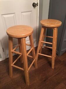 Two wooden bar stools $20 each