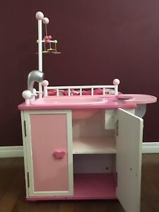 Wooden Doll's changing table and bathtub