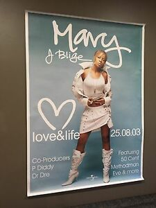 Mary J Blige,  Love & Life 2013 Concert Poster, 142 x 102cm Wynn Vale Tea Tree Gully Area Preview